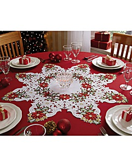 Easycare Cutwork Table Linen Poinsettia Star Centrepiece