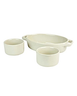 Swan 3 Piece Oven To Tableware Set Stone