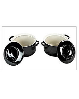 Swan Set of 2 Casserole Dishes Black