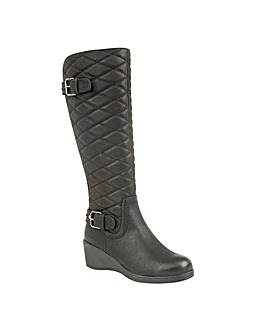 Lotus Plume Knee-High Wedge Boots