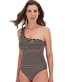 One Shoulder Lurex Stripe Swimsuit