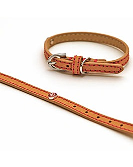 """Wag N Walk Tan Leather Collar 8-10"""""""
