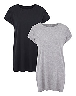 Black/Grey 2 Pack Boyfriend Tshirts