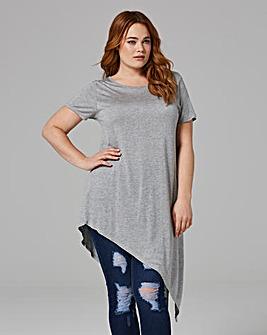 Grey Short Sleeve Asymmetric T-shirt
