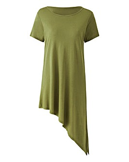 Khaki Short Sleeve Asymmetric Tunic