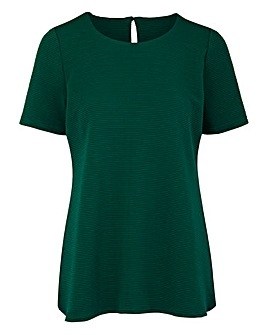 Dark Green Textured Jersey Shell Top