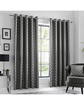 Curtina Oriental Squares Eyelet Curtains