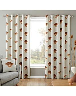 Fusion Highland Cow Eyelet Curtains