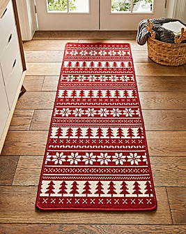 Red Snowflake and Tree Christmas Runner