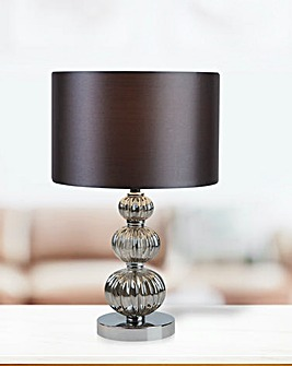 Stacked Table Lamp Chrome Smokey Glass