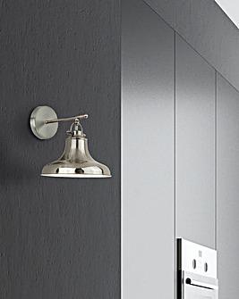 Satin Silver Industrial Wall Light
