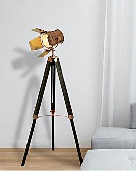 Copper & Black Spotlight Tripod Floor Lamp