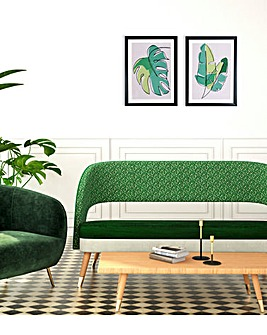Set of 2 Abstract Leaves Framed Print