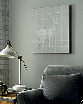 Tartan Stag Stiched Silhouette Canvas