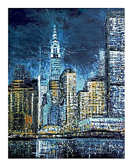 New York lights Hand painted Canvas