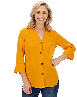 Ochre Cut Out V-Neck Button Shirt