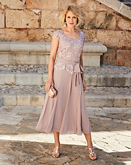 Nightingales Cornelli And Chiffon Dress