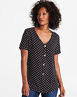 Black/White Spot Button Front Blouse