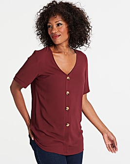 Wine Button Front Blouse