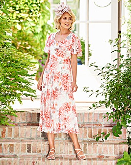 Nightingales Print Chiffon Dress