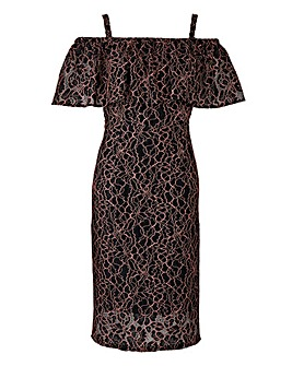 Lovedrobe Lace Bardot Dress with Ruffle