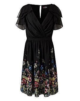 Lovedrobe Border Print V-Neck Dress