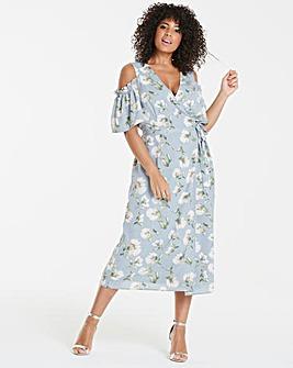 Lovedrobe Cold Shoulder Wrap Midi Dress