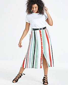 Neon Rose Striped Midi Skirt
