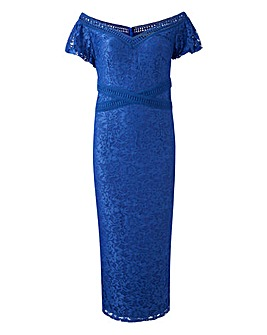 Little Mistress Lace Bardot Midi Dress