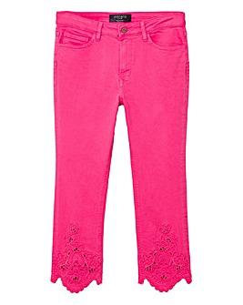 Violeta by Mango Crochet Detail Crop Jeans