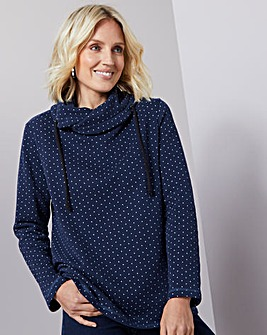 Julipa Leisure Spot Cowl Neck Sweatshirt