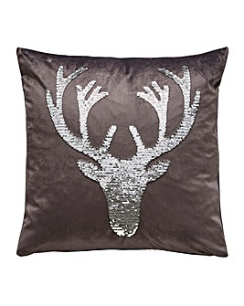 Stag Sequin Cushion Cover