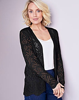 Julipa Black Pointelle Short Cardigan
