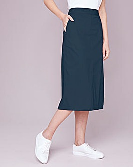 Julipa Navy Cotton Poplin Skirt
