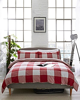 Boston Check Red Duvet Cover Set