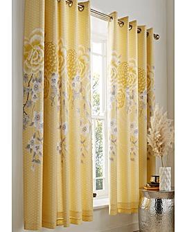 Oriental Blossom Eyelet Curtains