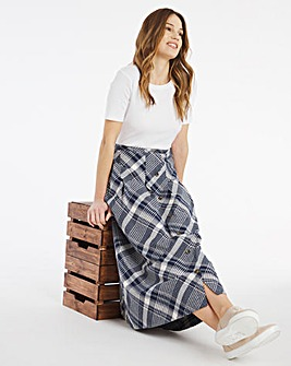 Julipa Check Button Through Skirt