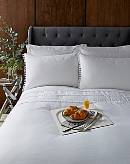 Tassel White Duvet Cover Set