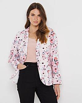 Julipa Pastel Floral Linen Mix Tailored Jacket