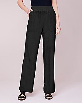 Julipa Ribbed Waist Linen Mix Trouser 29""
