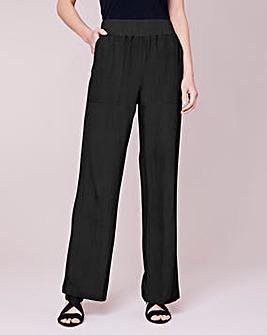 Julipa Ribbed Waist Linen Mix Trouser 29