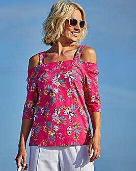 Julipa Pink Print Bardot Top
