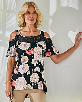 Julipa Crochet Trim Cold Shoulder Blouse