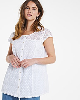 Julipa Cotton Lace Shoulder Blouse
