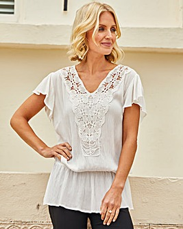 Julipa Lace Trim Crinkle Top