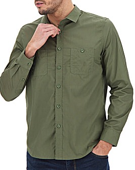 Khaki Long Sleeve Military Shirt Long