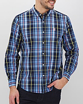 Navy Check Long Sleeve Poplin Shirt Long