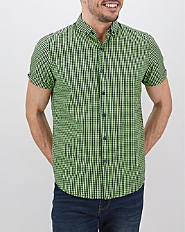 Green Check Short Sleeve Neon Shirt Long