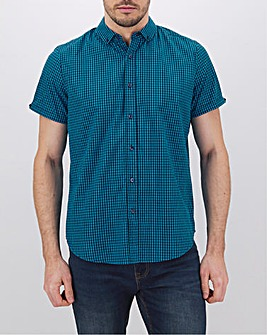 Cobalt Check Short Sleeve Neon Shirt Long