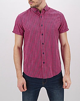 Pink Check Short Sleeve Neon Shirt Long